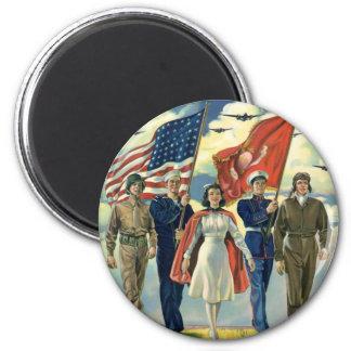Vintage patriótico, héroes orgullosos del personal imán redondo 5 cm