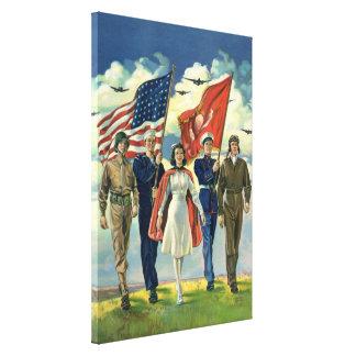Vintage patriótico, héroes orgullosos del personal impresión en lienzo