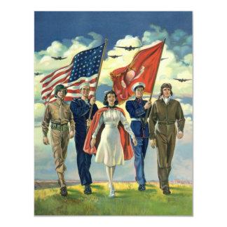 """Vintage patriótico, héroes orgullosos del personal invitación 4.25"""" x 5.5"""""""