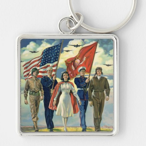 Vintage patriótico, héroes orgullosos del personal llavero cuadrado plateado