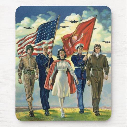 Vintage patriótico, héroes orgullosos del personal mousepad