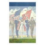 Vintage patriótico, héroes orgullosos del personal papelería