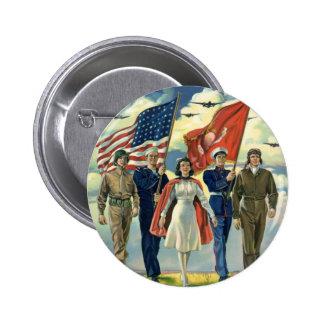 Vintage patriótico, héroes orgullosos del personal pin redondo 5 cm