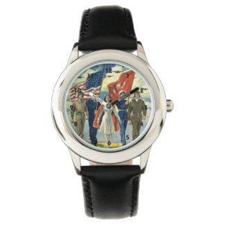 Vintage patriótico, héroes orgullosos del personal relojes de pulsera