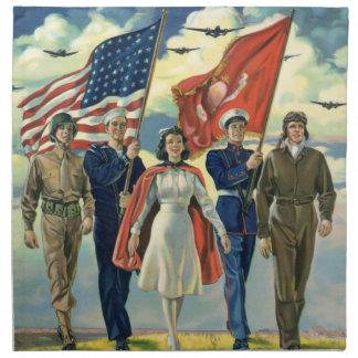 Vintage patriótico, héroes orgullosos del personal servilletas de papel