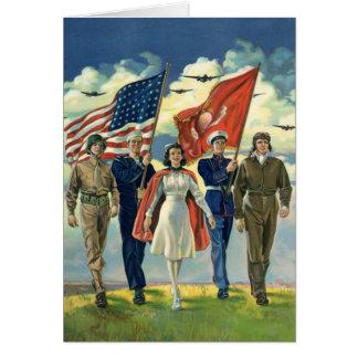 Vintage patriótico, héroes orgullosos del personal tarjeta de felicitación