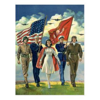 Vintage patriótico, héroes orgullosos del personal tarjetas postales