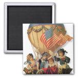 Vintage patriótico, niños en un globo del aire imán cuadrado