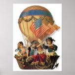 Vintage patriótico, niños en un globo del aire póster
