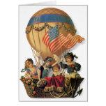 Vintage patriótico, niños en un globo del aire tarjeta de felicitación