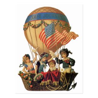 Vintage patriótico, niños en un globo del aire tarjetas postales
