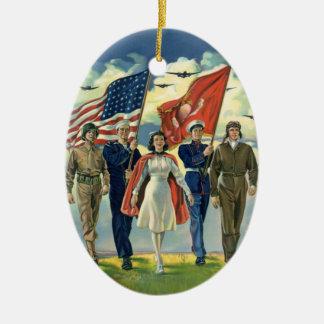 Vintage patriótico, personal militar ornamentos de reyes magos