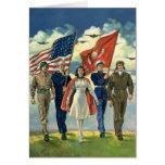 Vintage patriótico, personal militar felicitacion