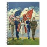 Vintage patriótico, personal militar libros de apuntes con espiral