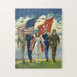 Vintage patriótico, personal militar rompecabezas con fotos