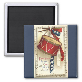 Vintage patriótico, tambores con las notas imán cuadrado