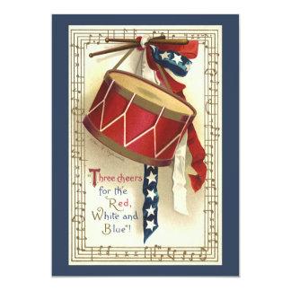 """Vintage patriótico, tambores con las notas invitación 5"""" x 7"""""""