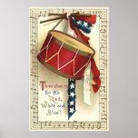 Vintage patriótico, tambores con las notas musical impresiones