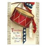 Vintage patriótico, tambores con las notas musical tarjetas postales