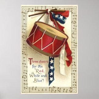 Vintage patriótico, tambores con las notas póster