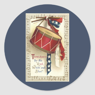 Vintage patriótico, tambores con las notas pegatina redonda