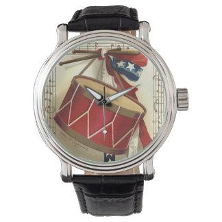 Vintage patriótico, tambores con las notas relojes de pulsera