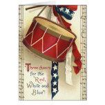 Vintage patriótico, tambores con las notas felicitación