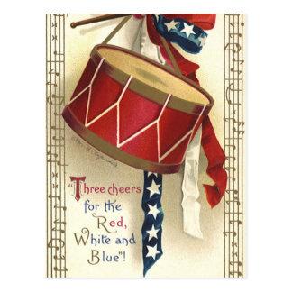 Vintage patriótico, tambores con las notas postal