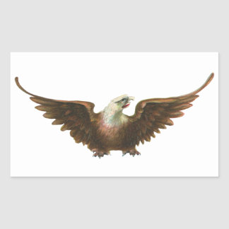 Vintage Patriotism American Bald Eagle Bird Flying Rectangular Sticker