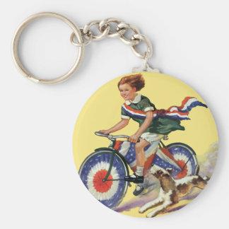 Vintage Patriotism, Girl Riding a Patriotic Bike Keychain