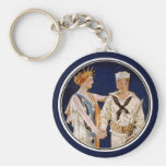 Vintage Patriotism, Lady Liberty with Navy Man Basic Round Button Keychain
