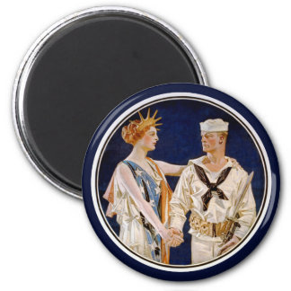 Vintage Patriotism, Lady Liberty with Navy Man 2 Inch Round Magnet