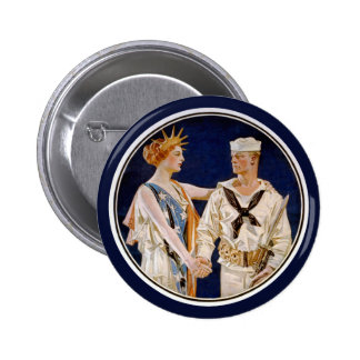 Vintage Patriotism, Lady Liberty with Navy Man Pinback Button