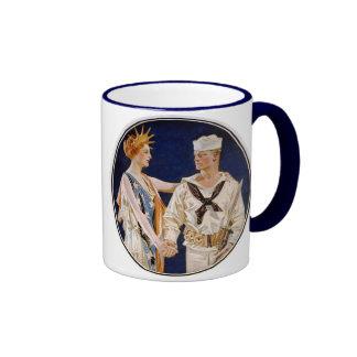 Vintage Patriotism, Lady Liberty with Navy Man Ringer Mug