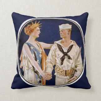 Vintage Patriotism, Lady Liberty with Navy Man Throw Pillow