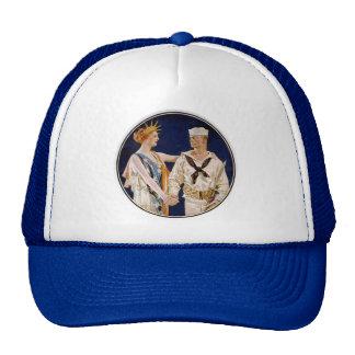 Vintage Patriotism, Lady Liberty with Navy Man Trucker Hat