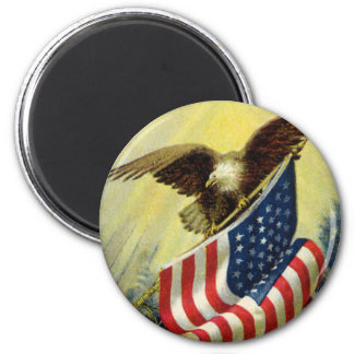 Vintage Patriotism, Patriotic Eagle American Flag 2 Inch Round Magnet