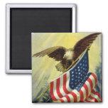 Vintage Patriotism, Patriotic Eagle American Flag 2 Inch Square Magnet