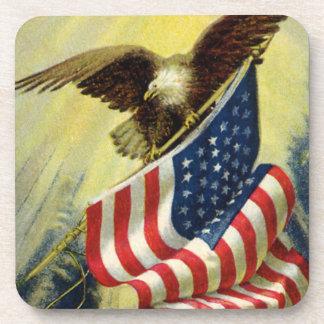 Vintage Patriotism, Patriotic Eagle American Flag Beverage Coaster