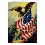 Vintage Patriotism, Patriotic Eagle American Flag Greeting Card