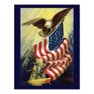 Vintage Patriotism, Patriotic Eagle American Flag 4.25x5.5 Paper Invitation Card