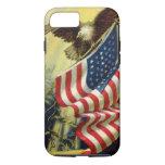 Vintage Patriotism, Patriotic Eagle American Flag iPhone 7 Case