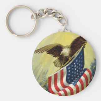 Vintage Patriotism, Patriotic Eagle American Flag Keychain
