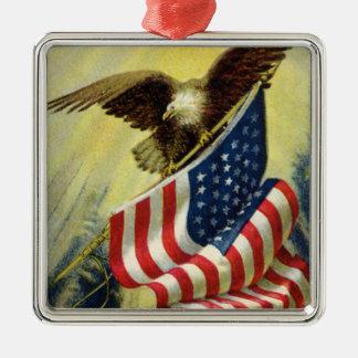 Vintage Patriotism Patriotic Eagle American Flag Christmas Ornaments