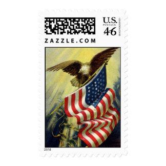 Vintage Patriotism Patriotic Eagle American Flag Stamp
