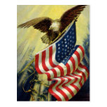 Vintage Patriotism, Patriotic Eagle American Flag Postcards