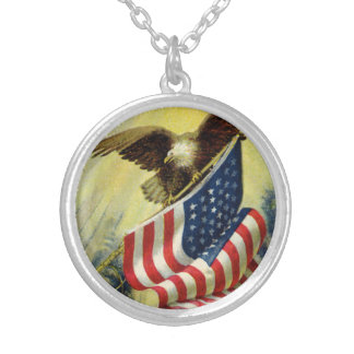 Vintage Patriotism, Patriotic Eagle American Flag Silver Plated Necklace