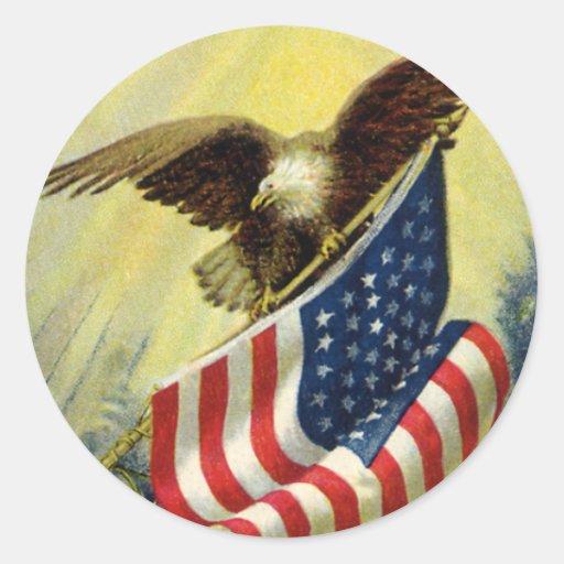 Vintage Patriotism, Patriotic Eagle American Flag Round Stickers