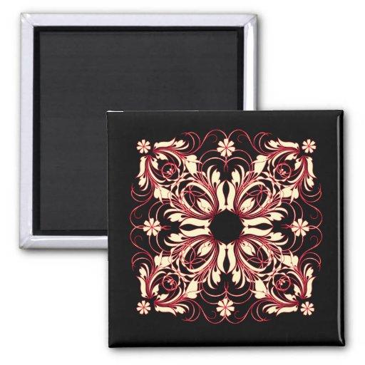 vintage pattern 2 inch square magnet