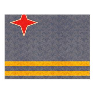 Vintage Pattern Aruban Flag Postcard